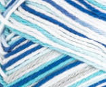 Anchors Away Ombre (navy, light blue, white) variegated swatch of Bernat Handicrafter Cotton