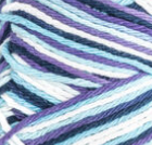 Moondance Ombre (bright purple, navy, pale blue, white) variegated swatch of Bernat Handicrafter Cotton
