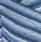 Blue Camo Ombre (navy, mid blue, light blue, pale dusty blue) variegated swatch of Bernat Handicrafter Cotton