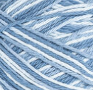 Faded Denim (white, denim blue, light denim blue) variegated swatch of Bernat Handicrafter Cotton