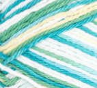 Mod Ombre (mid green, bright turquoise, light yellow, white) variegated swatch of Bernat Handicrafter Cotton