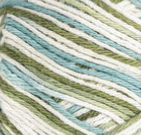 Emerald Isle (light turquoise, olive green, off white) variegated swatch of Bernat Handicrafter Cotton