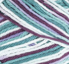 Crown Jewels Ombre (bright purple, light purple, mid green, light blue, white) variegated swatch of Bernat Handicrafter Cotton