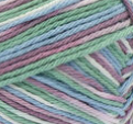Freshly Pressed Ombre (mid mauve, mid green, denim blue) variegated swatch of Bernat Handicrafter Cotton