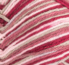 Damask Ombre (deep red, pale olive green, off white) variegated swatch of Bernat Handicrafter Cotton