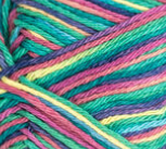 Psychedelic Ombre (bright pink, light yellow, bright green, bright turquoise, indigo) variegated swatch of Bernat Handicrafter Cotton