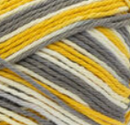 Golden Mist Ombre (gold, mid grey, ivory) variegated swatch of Bernat Handicrafter Cotton