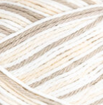 Queen Ann's Lace (tan, cream, white) variegated swatch of Bernat Handicrafter Cotton