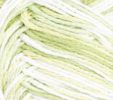 Key Lime Pie (light spring green, pale yellow, white) variegated swatch of Bernat Handicrafter Cotton