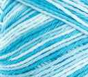 Swimming Pool (bright tropical blue, light blue, white) variegated swatch of Bernat Handicrafter Cotton