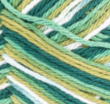 June Bug Ombre (forest green, mid green, light olive green, white) variegated swatch of Bernat Handicrafter Cotton