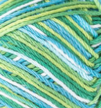 Emerald Energy Ombre (mid green, light blue, spring green, white) variegated swatch of Bernat Handicrafter Cotton
