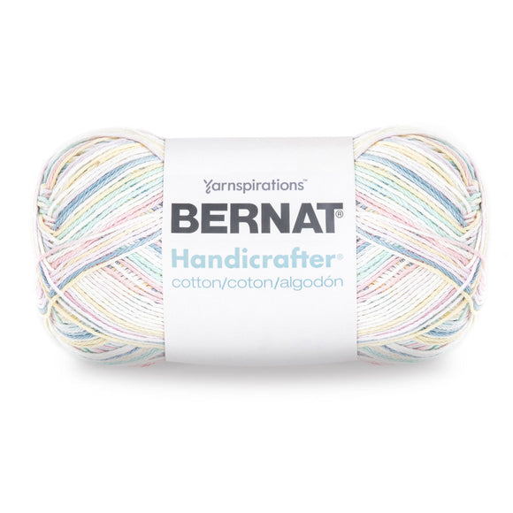 Large ball of Bernat Handicrafter Cotton (340g) in variegated colourway Pretty Pastels Ombre (white, pale pink, light yellow, mid blue, pale green)