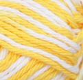 Small ball (42.5g) of variegated Bernat Handicrafter Cotton in colourway Lemon Swirl (bright yellow and white)