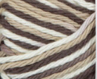 Chocolate Ombre (rich brown, tan, white) variegated swatch of Bernat Handicrafter Cotton