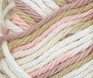 Tumbleweed (light olive green, light pink, light mauve, white) variegated swatch of Bernat Handicrafter Cotton