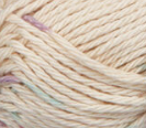 Potpourri Ombre (ivory with flecks of light purple and blue) swatch of Bernat Handicrafter Cotton