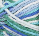 Neptune Ombre (bright blue, soft blue, bright green, white) variegated swatch of Bernat Handicrafter Cotton