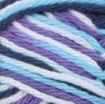 Moondance (navy, bright purple, soft blue, white) variegated swatch of Bernat Handicrafter Cotton