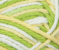 Green Dream (spring green, yellow, white) variegated swatch of Bernat Handicrafter Cotton
