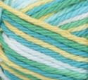 Mod Ombre (yellow, turquoise, mid green, white) variegated swatch of Bernat Handicrafter Cotton