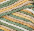Country Sage Ombre (gold, tan, sage green, off white) variegated swatch of Bernat Handicrafter Cotton
