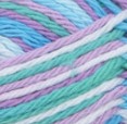 Beach Ball Blue (bright blue, bright green, white, soft violet) variegated swatch of Bernat Handicrafter Cotton