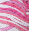 Patio Pinks (white, bright pink, mid pink, soft magenta) variegated swatch of Bernat Handicrafter Cotton