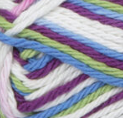 Fruit Punch Ombre (white, bright purple, soft green, mid blue) variegated swatch of Bernat Handicrafter Cotton