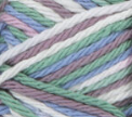 Freshly Pressed (white, light mauve, light sage green, light blue) variegated swatch of Bernat Handicrafter Cotton