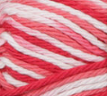 Azalea (white, red, mid pink, coral) variegated swatch of Bernat Handicrafter Cotton