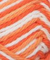 Poppy (bright orange, bright white, bright reddish-orange) variegated swatch of Bernat Handicrafter Cotton