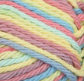 Candy Sprinkles Ombre (yellow, dusty pink, light mauve, mid blue) variegated swatch of Bernat Handicrafter Cotton