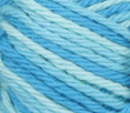 Swimming Pool (mid blue, light blue, pale blue) variegated swatch of Bernat Handicrafter Cotton