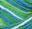 Emerald Energy (bright green, spring green, bright blue, white) variegated swatch of Bernat Handicrafter Cotton