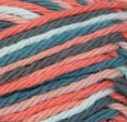 Coral Seas Ombre (coral, pale coral, teal, turquoise, off white) variegated swatch of Bernat Handicrafter Cotton