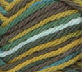 Rickrack Ombre (sage green, gold, mid brown, pale blue) variegated swatch of Bernat Handicrafter Cotton