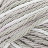 Griege Ombre (light warm grey, light cool grey, off white) variegated swatch of Bernat Handicrafter Cotton