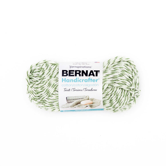 Small ball (42.5g) of Bernat Handicrafter Cotton Twists in colourway Green Twists (olive green, pale green, white)