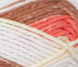 Small ball of Bernat Handicrafter Stripes in colourway Natural Stripes (coral, mid brown, ivory, white)