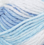 Tie Dye Stripes (light blue, pale tropical blue, white) swatch of Bernat Handicrafter Cotton Stripes