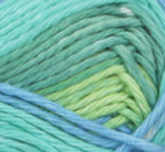 Country Stripes (mid green, turquoise, spring green,  mid blue) swatch of Bernat Handicrafter Cotton Stripes