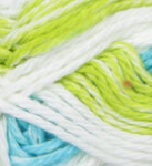 Mod Stripes (spring green, white, turquoise) swatch of Bernat Handicrafter Cotton Stripes
