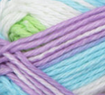 Violet Stripes (light tropical blue, light violet, spring green, white) swatch of Bernat Handicrafter Cotton Stripes