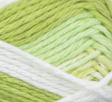 Lime Stripes (spring green, light spring green, white) swatch of Bernat Handicrafter Cotton Stripes