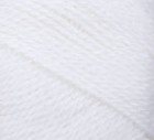 Swatch of Bernat Softee Baby yarn in shade white