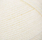 Swatch of Bernat Softee Baby yarn in shade antique white (off white)