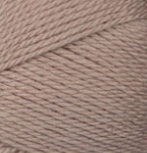 Swatch of Bernat Softee Baby yarn in shade little mouse (grey/brown)