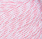 Swatch of Bernat Softee Baby yarn in shade baby pink marl (white/pink marl)