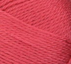 Swatch of Bernat Softee Baby yarn in shade soft red